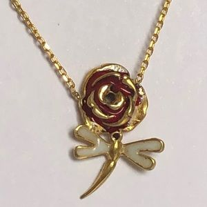 Jewelry - Yellow gold plated rose and dragonfly necklace